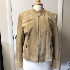 Camel colored 100% suede leather jacket. Large.